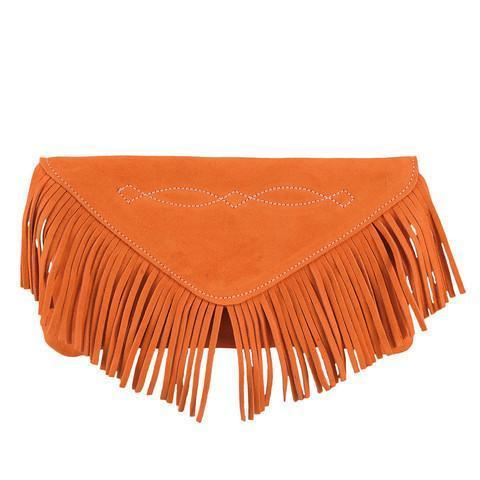 Bridle Stitch Fringe Suede Clutch | Tangerine - GDH | The decorators department Store