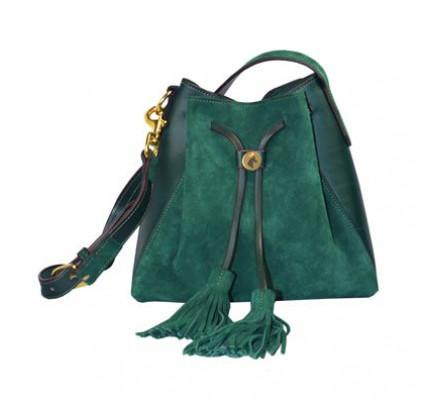 Paddock Collection Suede Leather Drawstring Bag