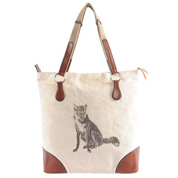 Burghley Fox Tote Bag | White