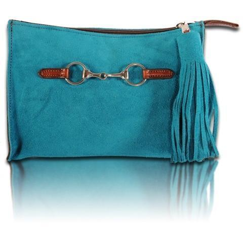 Suede Snaffle Clutch with Suede Tassel | Azure - GDH | The decorators department Store