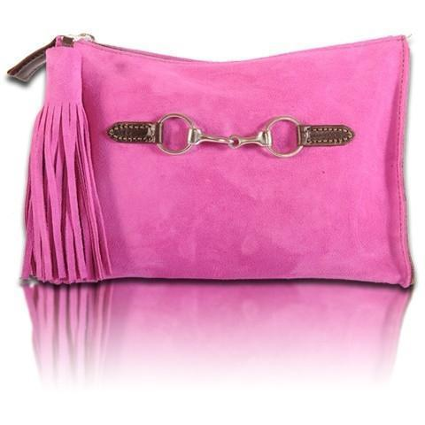 Suede Snaffle Clutch with Suede Tassel | Bright Berry - GDH | The decorators department Store