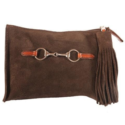 Suede Snaffle Clutch with Suede Tassel | Chocolate - GDH | The decorators department Store