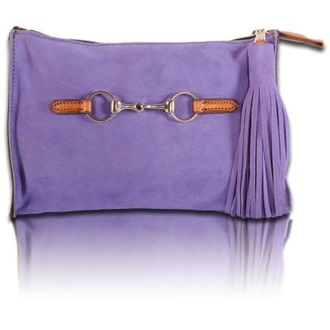 Suede Snaffle Clutch with Suede Tassel | Lilac - GDH | The decorators department Store
