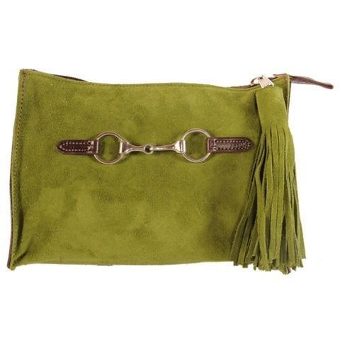 Suede Snaffle Clutch with Suede Tassel | Loden - GDH | The decorators department Store