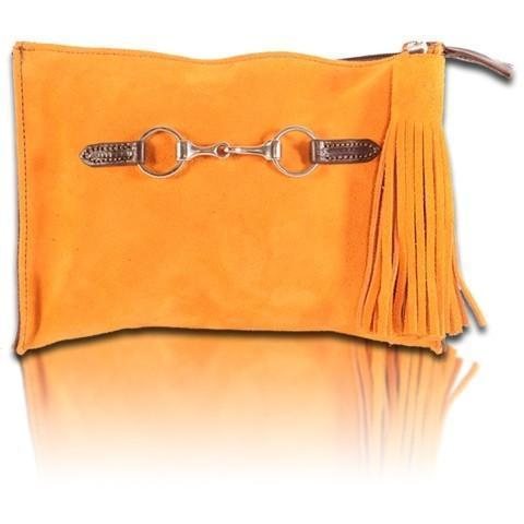 Suede Snaffle Clutch with Suede Tassel | Tangerine - GDH | The decorators department Store