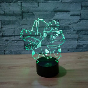 Pokemon Inspired Ivysaur 3D Optical Illusion Lamp - 3D Optical Lamp