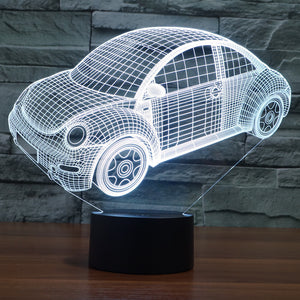 Volkswagen Inspired Beetle Car 3D Optical Illusion Lamp - 3D Optical Lamp