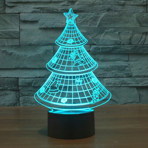 Decorated Christmas Tree 3D Optical Illusion Lamp - 3D Optical Lamp