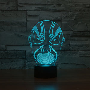 Traditional Chinese Peking Mask 3D Optical Illusion Lamp - 3D Optical Lamp