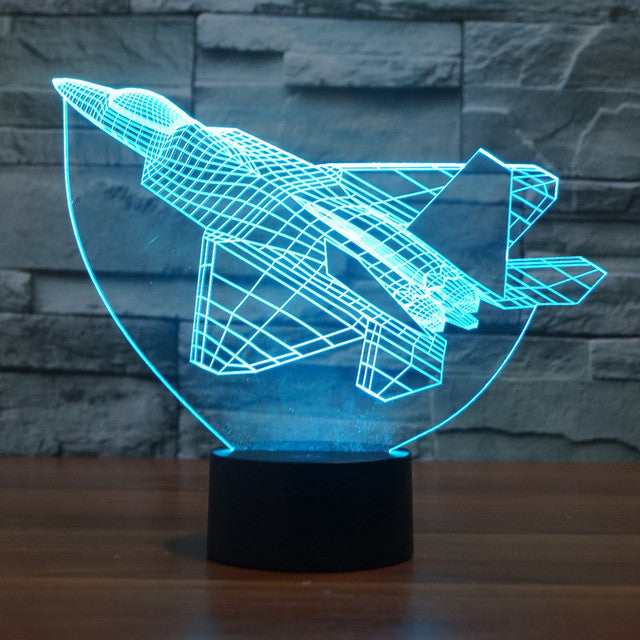 Realistic F22 Fighter Jet 3D Optical Illusion Lamp - 3D Optical Lamp