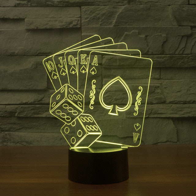 Gambler's Sculpture 3D Optical Illusion Lamp - 3D Optical Lamp