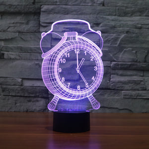 Retro Analog Clock 3D Optical Illusion Lamp - 3D Optical Lamp