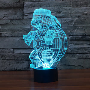 Adorable Cartoon Tortoise 3D Optical Illusion Lamp - 3D Optical Lamp