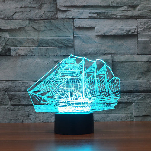 Classic Pioneer Sailboat 3D Optical Illusion Lamp - 3D Optical Lamp