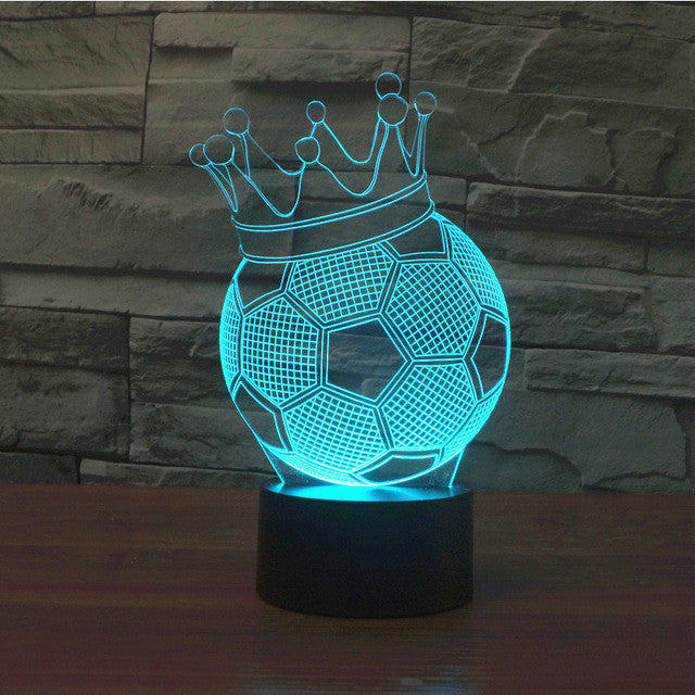 Crowned Soccer Ball Trophy 3D Optical Illusion Lamp - 3D Optical Lamp