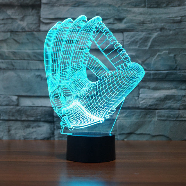 Realistic Baseball Gloves 3D Optical Illusion Lamp - 3D Optical Lamp