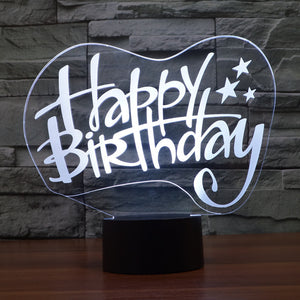 Celebratory Happy Birthday 3D Optical Illusion Lamp - 3D Optical Lamp