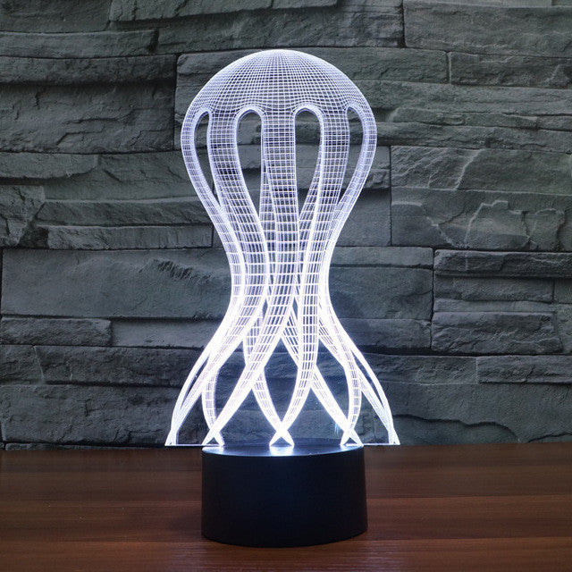 Realistic Jelly Fish 3D Optical Illusion Lamp - 3D Optical Lamp