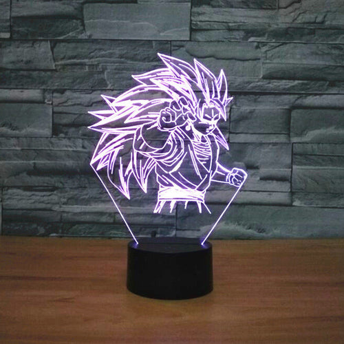 Dragon Ball Z Inspired Super Saiyan 3 Goku 3D Optical Illusion Lamp - 3D Optical Lamp