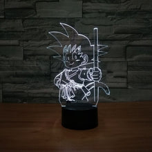 Dragon Ball Inspired Kid Goku 3D Optical Illusion Lamp - 3D Optical Lamp