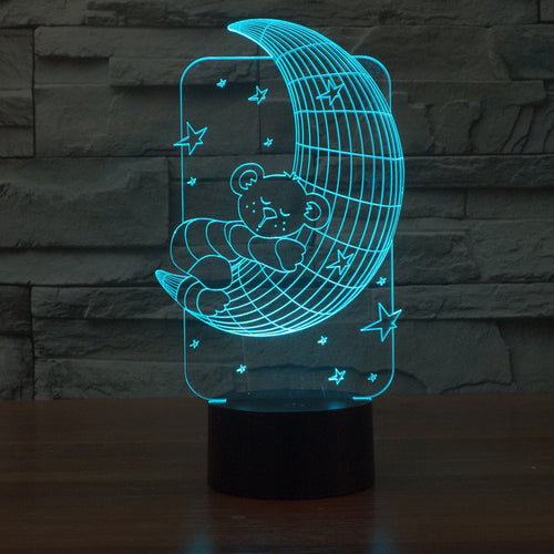 Adorable Sleeping Bear On The Moon 3D Optical Illusion Lamp - 3D Optical Lamp