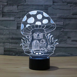 Adorable Mushroom Home 3D Optical Illusion Lamp - 3D Optical Lamp