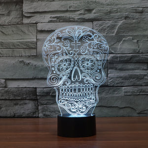 Traditional Christian Skull Art 3D Optical Illusion Lamp - 3D Optical Lamp