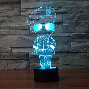 Adorable Cartoon Army Soldier 3D Optical Illusion Lamp - 3D Optical Lamp