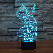 Marvel Inspired Squatting Deadpool 3D Optical Illusion Lamp - 3D Optical Lamp