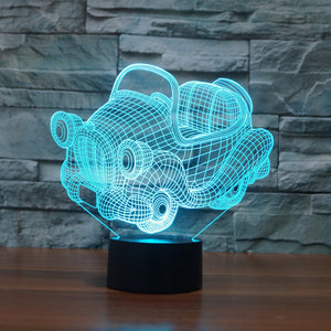 Adorable Cartoon Car 3D Optical Illusion Lamp - 3D Optical Lamp