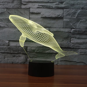 Realistic Blue Whale 3D Optical Illusion Lamp - 3D Optical Lamp