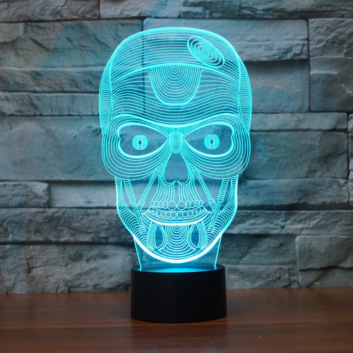 Realistic Glaring Skull 3D Optical Illusion Lamp - 3D Optical Lamp