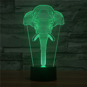 Realistic Elephant Head Bust 3D Optical Illusion Lamp - 3D Optical Lamp