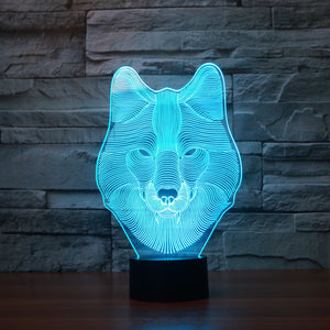 Stoic Wolf Head Bust 3D Optical Illusion Lamp - 3D Optical Lamp