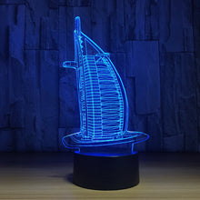 Burj Al Arab Hotel 3D Optical Illusion Lamp - 3D Optical Lamp