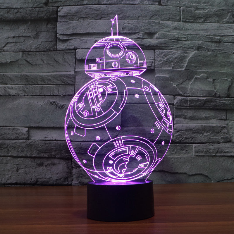 Star Wars Inspired BB-8 3D Optical Illusion Lamp - 3D Optical Lamp