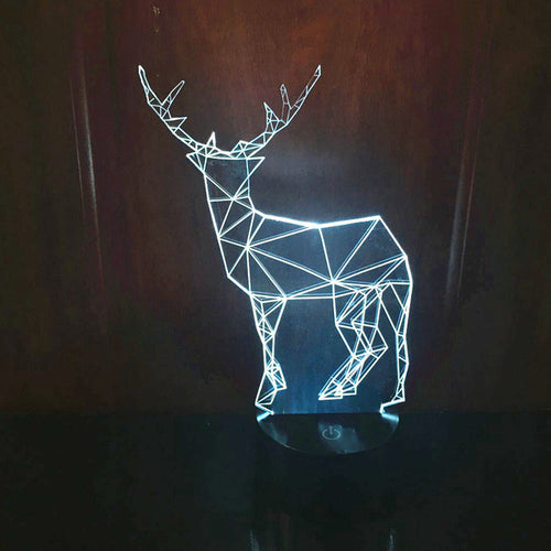 Artistic Reindeer 3D Optical Illusion Lamp - 3D Optical Lamp