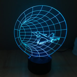 Jet Fighter Worm Hole 3D Optical Illusion Lamp - 3D Optical Lamp