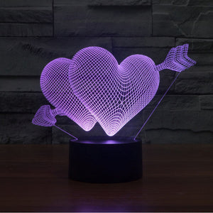 Struck By Cupid's Arrow 3D Optical Illusion Lamp - 3D Optical Lamp