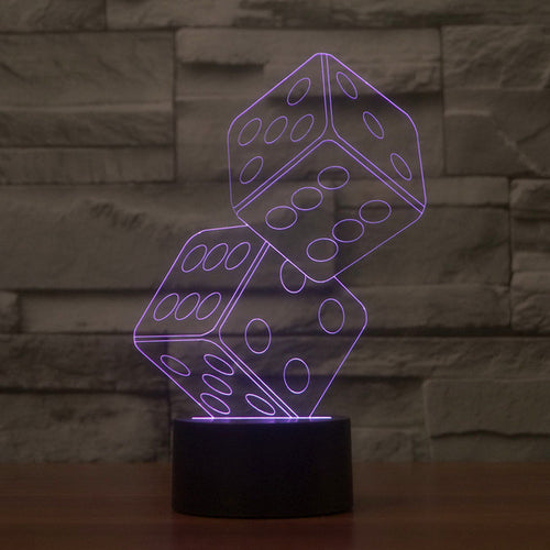 Creative Tumbling Dice 3D Optical Illusion Lamp - 3D Optical Lamp