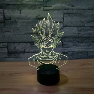 Dragon Ball Z Inspired Super Saiyan Goku 3D Optical Illusion Lamp - 3D Optical Lamp