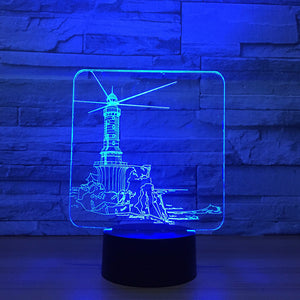 Dutch Windmill 3D Optical Illusion Lamp - 3D Optical Lamp