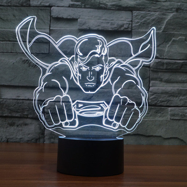 DC Comics Inspired Flying Superman Sculpture 3D Optical Illusion Lamp - 3D Optical Lamp