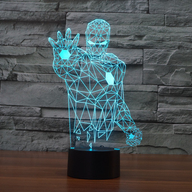 Marvel Inspired Armed Iron Man 3D Optical Illusion Lamp - 3D Optical Lamp