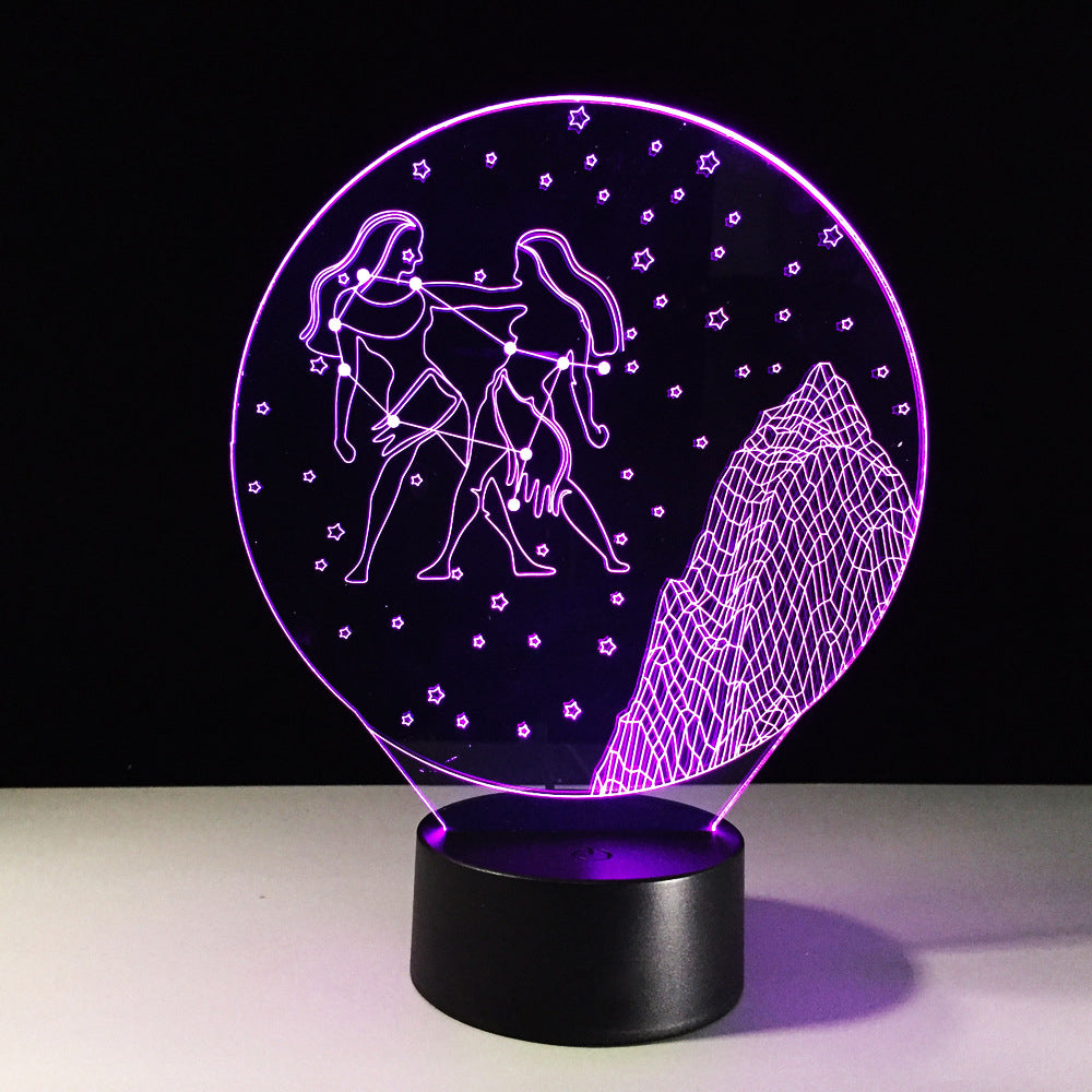Gemini Horoscope 3D Optical Illusion Lamp - 3D Optical Lamp