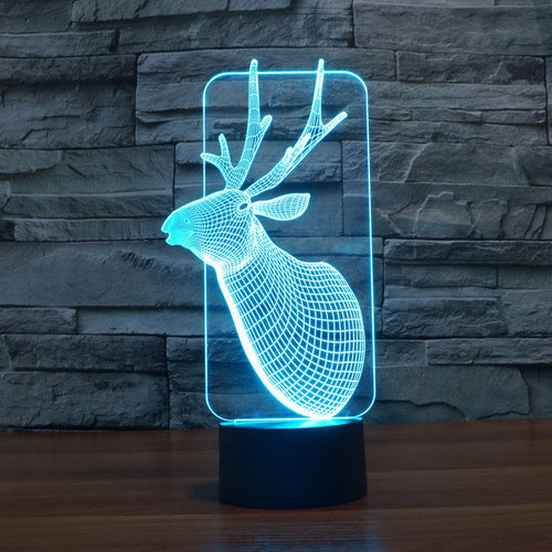 Realistic Deer Bust 3D Optical Illusion Lamp - 3D Optical Lamp