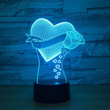 Heart Rose 3D Optical Illusion Lamp - 3D Optical Lamp