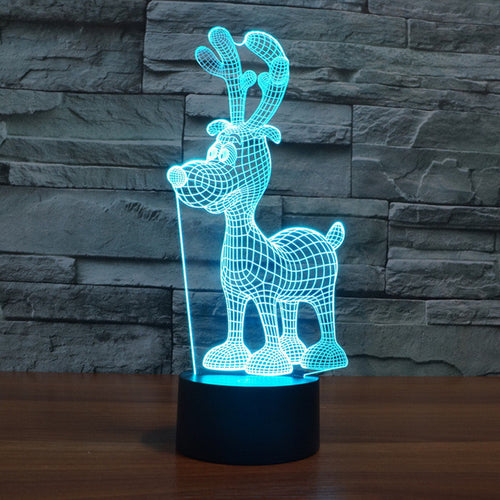 Cartoony Reindeer 3D Optical Illusion Lamp - 3D Optical Lamp
