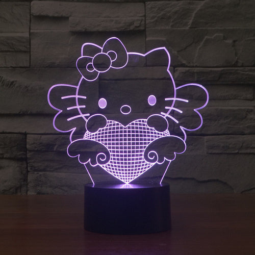 Hello Kitty Inspired Kitty Angel 3D Optical Illusion Lamp - 3D Optical Lamp
