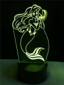 Mermaid touch 3D   colorful Nightlight lamp - 3D Optical Lamp
